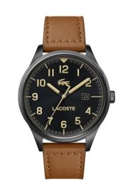 Lacoste Zwart Continental Heren Horloge met Lichtbruin Horlogeband