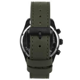 Zwart Multi-Functie Edelstalen Horloge met Groene Wijzerplaat