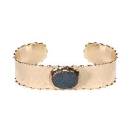 Biba | Goudkleurige Bangle Armband met Natuursteen