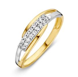 Excellent Jewelry Geelgouden Ring met Witgouden Zirkonia Strook