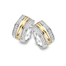 Excellent Jewelry Zilveren Creolen met Geelgouden Lijnen en Zirkonia's