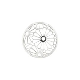 Zilveren Cover Munt met Opengewerkte Bloemen 24-1397