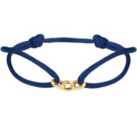 Donkerblauwe Armband met Gouden Schakels