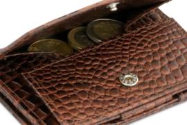 Croco Bruine Magic Coin Wallet Portemonnee van Essenziale Garzini