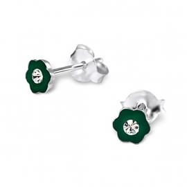 Groene bloem oorbellen SU110-groen