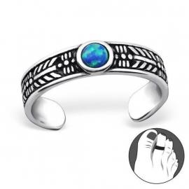 Zilveren Teenring met Pacific Blue Opaal