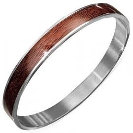 Bruine Bangle armband met houtstructuur SKU74696