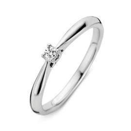 Excellent Jewelry Witgouden Ring met Vernauwing en 0,06 crt. Briljant
