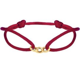 Bordeaux Rode Armband met Gouden Schakels
