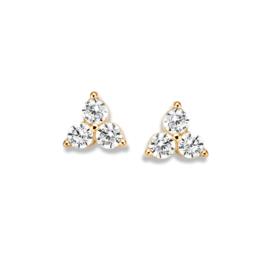Excellent Jewelry Geelgouden Oorstekers met Drie Zirkonia's