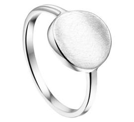 Zilveren Ring met Rond Gescratcht Plaatje