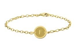 Names4ever Gouden Armband met Ronde Letterhanger