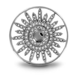 LOCKits Zilverkleurige Zon Munt met Zirkonia's 25mm