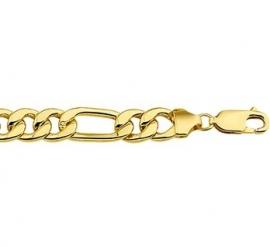 Slanke Figaro Gouden Schakelarmband met Zilveren Kern