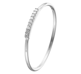 Slanke Witgouden Ring met Diamant Rij