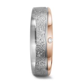 Matte met Gepolijste Zilveren en Roségouden Dames Trouwring met Diamant