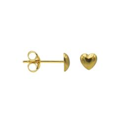 Goudkleurige Oorknoppen met 3D Hart | Karma Jewelry