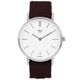 Prisma Zilverkleurig Unisex Horloge met Wijnrood Nylon