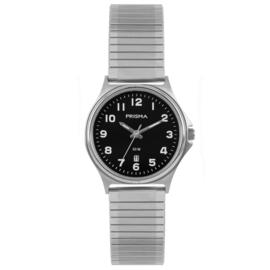 Prisma Edelstalen Klassiek Dames Horloge met Zwarte Wijzerplaat