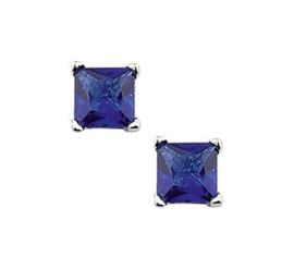 Square Blauwe Zirkonia Oorknoppen van Zilver