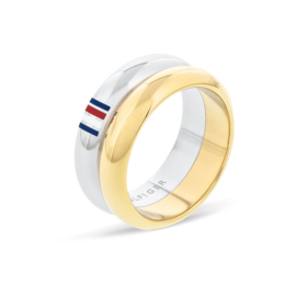 Tommy Hilfiger Dubbele Dames Ring met Goudkleurige Band / 17,25mm