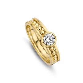 Gouden Ring met Bolletjes Strook en Kleurloze Zirkonia