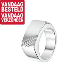 Zilveren Heren Ring met Diagonale Lijnen / Maat 20