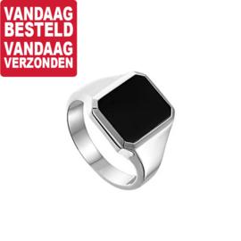 Zilveren Zwarte Onyx Zegelring / Maat 19