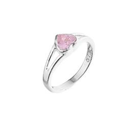 Zilveren Ring voor Kinderen met Roze Hartje