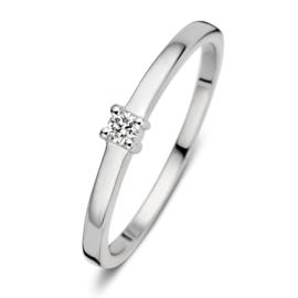 Excellent Jewelry Witgouden Ring met 0,06 crt. Briljant