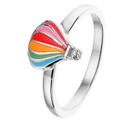 Zilveren Ring voor Kinderen met Regenboog Luchtballon