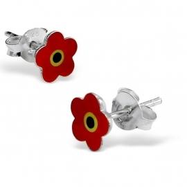 Zilveren bloem oorstekers SU121-rood