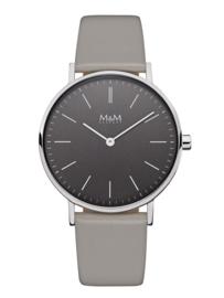 Zilverkleurig Dames Horloge met Grijs Lederen Band van M&M