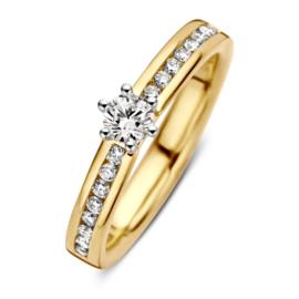 Excellent Jewelry Gouden Ring met Rij Briljanten en Briljant Kopstuk