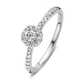 Excellent Jewelry Witgouden Ring met Briljanten en Rond Plaatje