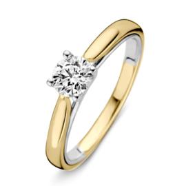 Excellent Jewelry Bolstaande Bicolor Ring met 0,50 crt. Briljant