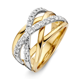 Excellent Jewelry Bicolor Dames Ring met Fantasievol Diamant Ontwerp
