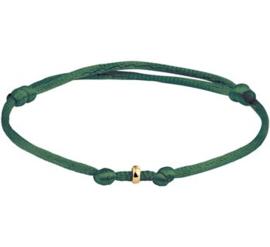 Groene Armband van Satijn + Gouden Ringetje