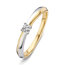 Excellent Jewelry Bicolor Ring met 0,12 crt. Briljant