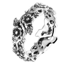 Decoratieve Bloem Ring van Geoxideerd Zilver