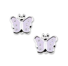 Zilveren Vlinder Oorknoppen met Lichtpaarse Emaille