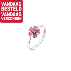 Zilveren Ring voor Kinderen met Roze Bloem en Zirkonia / Maat 14