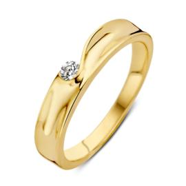 Excellent Jewelry Geelgouden Ring met Vloeiend Zirkonia Kopstuk
