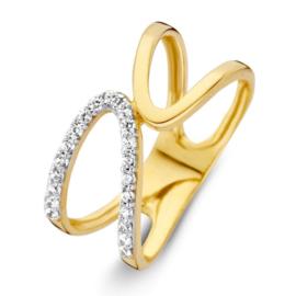 Excellent Jewelry Geelgouden Lus Ring met Kleurloze Zirkonia's