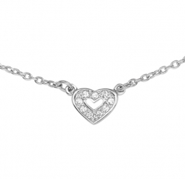 Zilveren Collier met Hartvormige Zirkonia Hanger