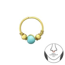 Goudkleurige Bali Neus Ring van Zilver met Turquoise Kraal