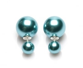 Double Dots® Oorbellen Metalic Green Pearl 11027