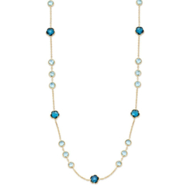 Excellent Jewelry Geelgouden Collier met London Blue Topaas Edelstenen