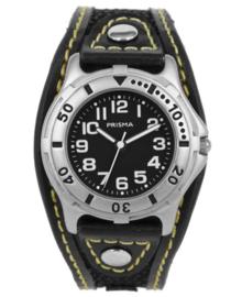 Stijlvol Jongens Horloge met Zwart Lederen Band met Geel Stiksel