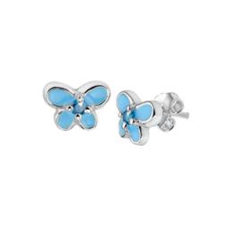 Zirkonia Vlinder Oorknoppen van Zilver met Blauwe Emaille